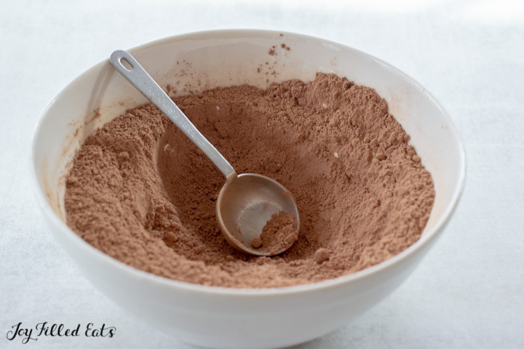 white bowl of hot chocolate mix