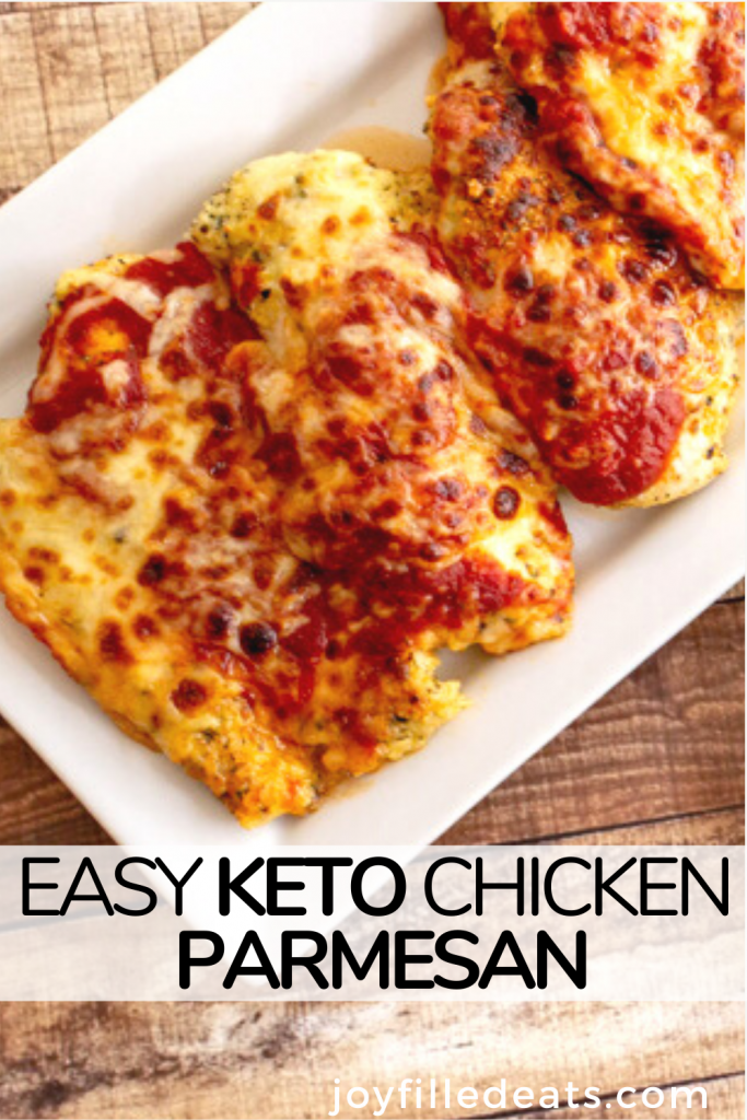 pinterest image for keto chicken parmesan