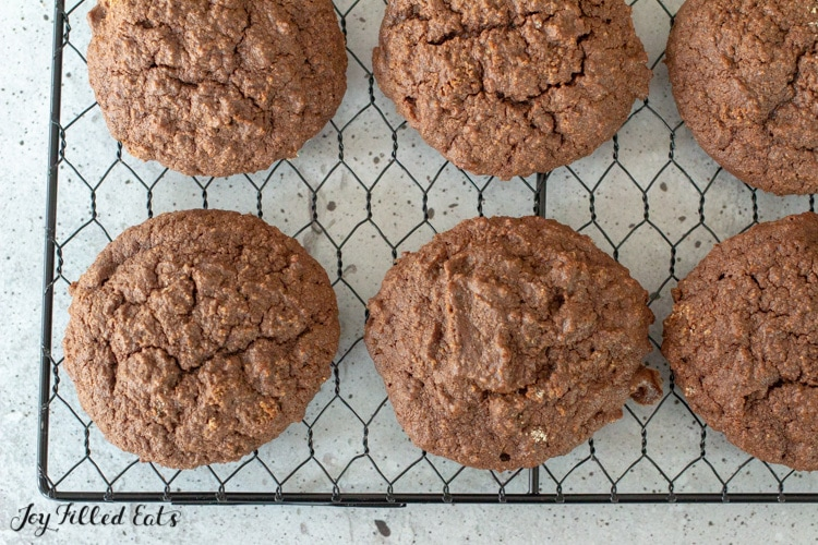 keto chocolate cookies on a wire rack
