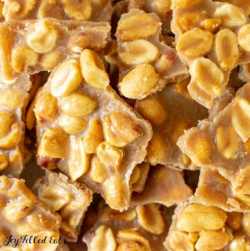 close up of the peanut brittle candy