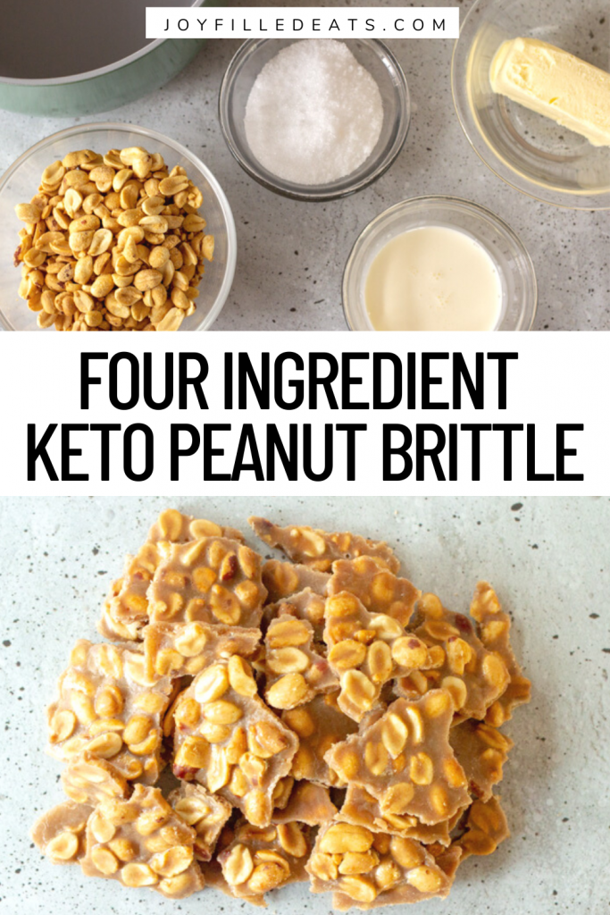 pinterest image for keto peanut brittle