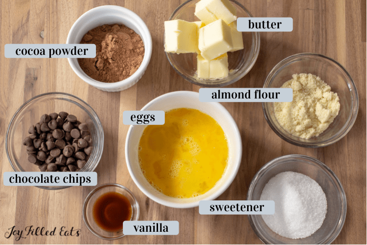 ingredients in small bowls including butter and cocoa powder