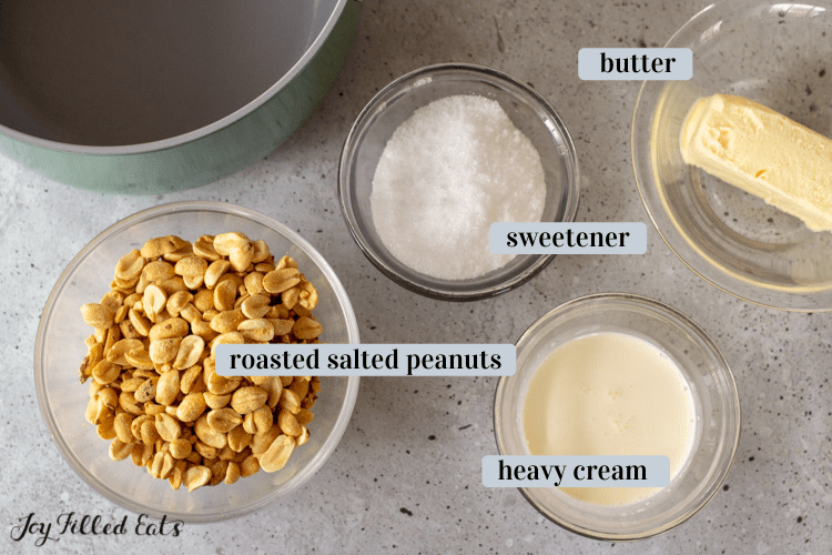 small bowls on ingredients including nuts butter sweetener and cream