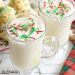 close up of two mugs of peppermint white hot chocolate