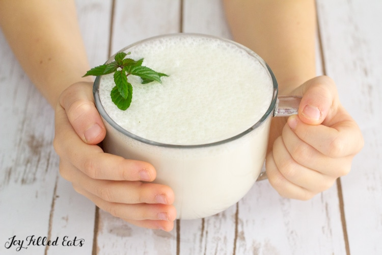 two hands holding a white hot chocolate with peppermint leaves