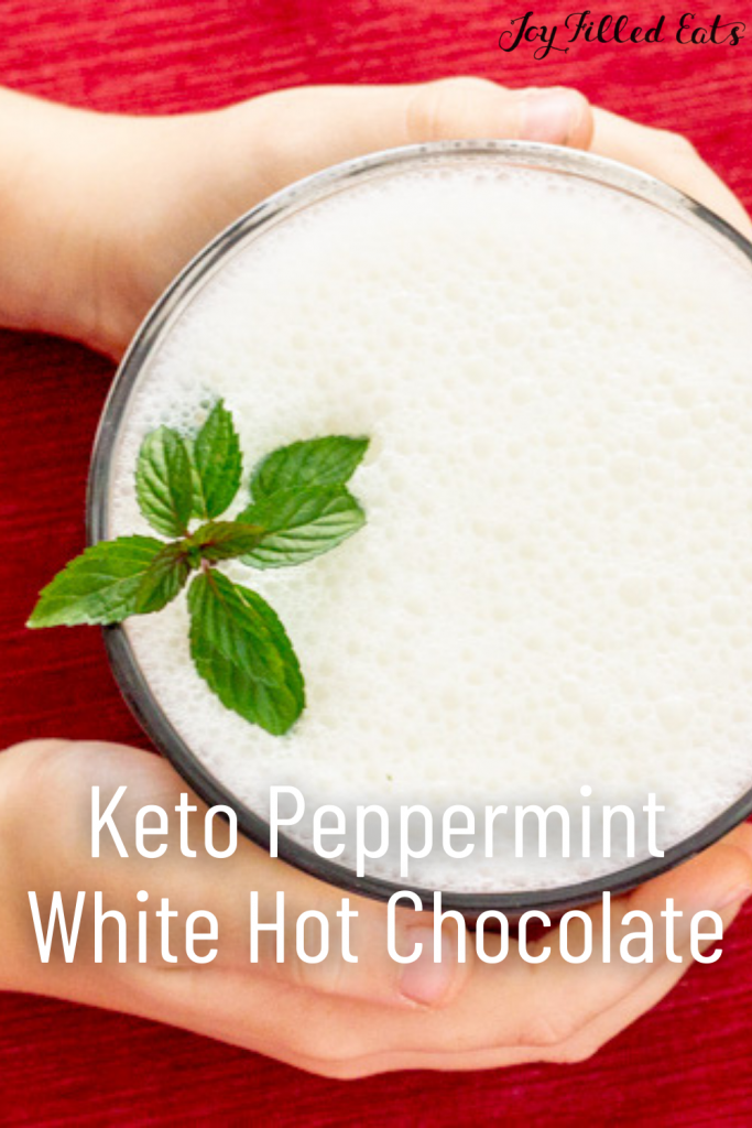 pinterest image for Peppermint White Hot Chocolate