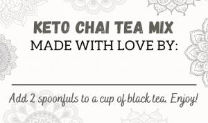 keto chai tea mix gift tag