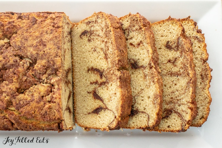 close up of slices of keto cinnamon bread