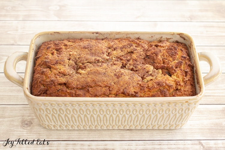 side view of the baked cinnamon bread