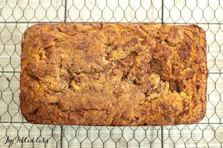 keto cinnamon bread on a cooling rack