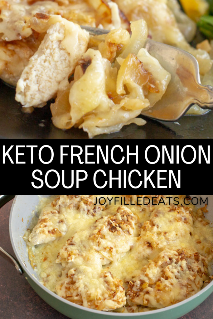 pinterest image for keto french onion soup chicken