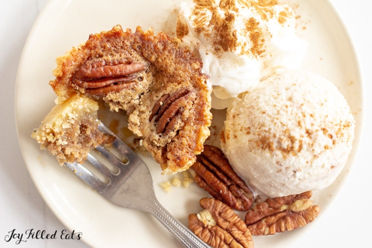 dessert plate with a low carb pecan pie and ice cream
