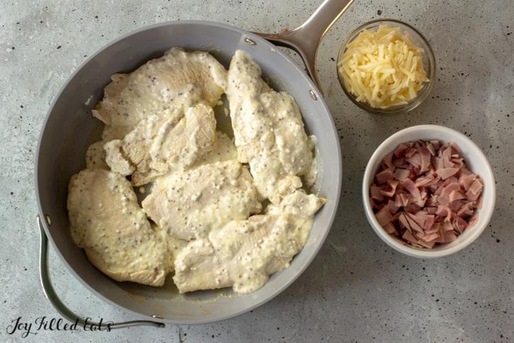 skillet with chicken tenderloins