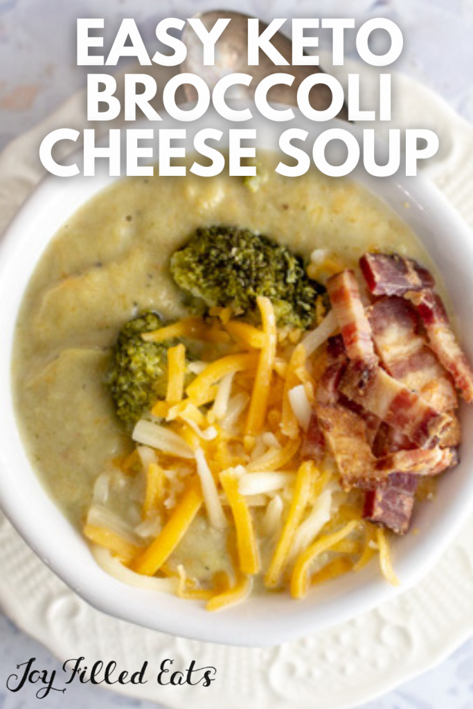pinterest image for keto broccoli cheese soup