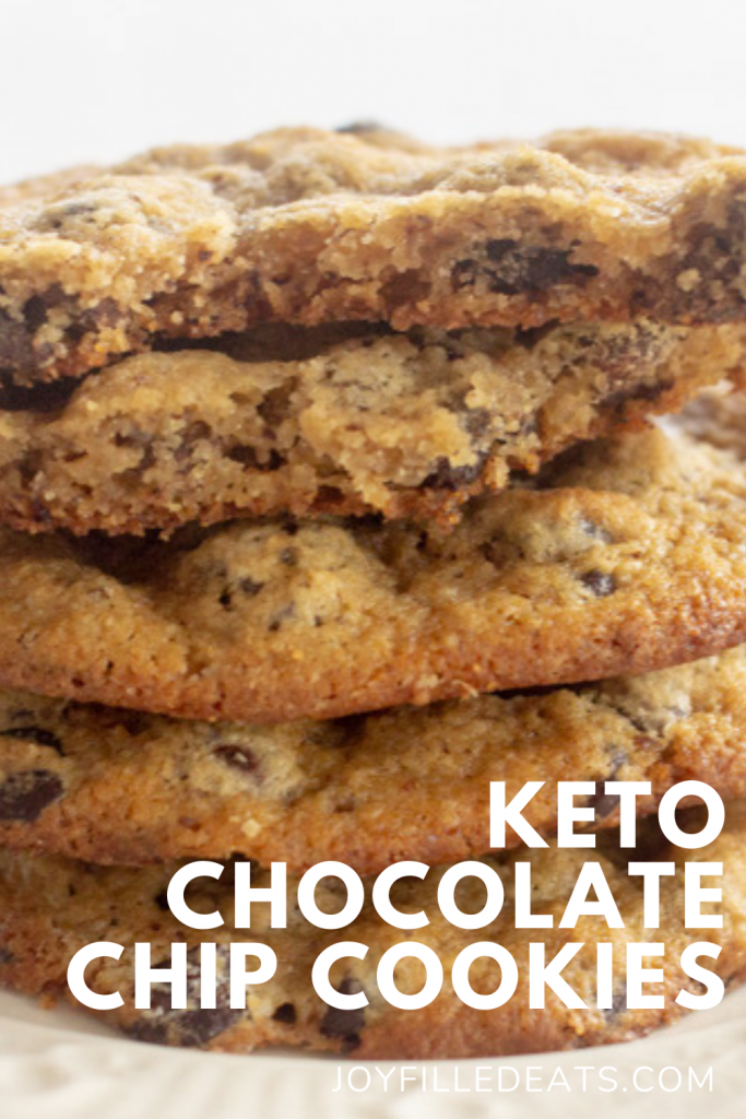pinterest image for keto almond flour chocolate chip cookies