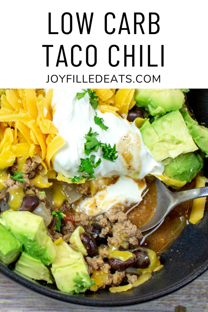 pinterest image for low carb turkey chili