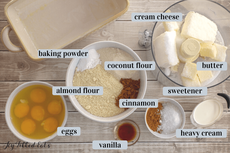 ingredients in small bowls and in a food processor