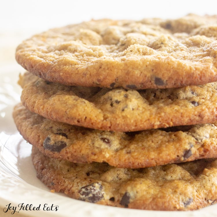 close up of keto almond flour chocolate chips cookies