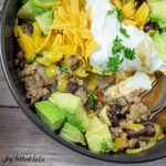 close up of a bowl of turkey taco chili with toppings