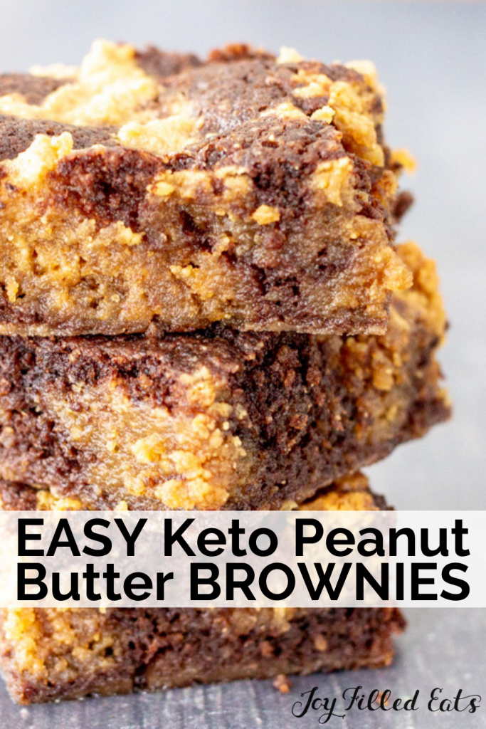 pinterest image for keto peanut butter brownies
