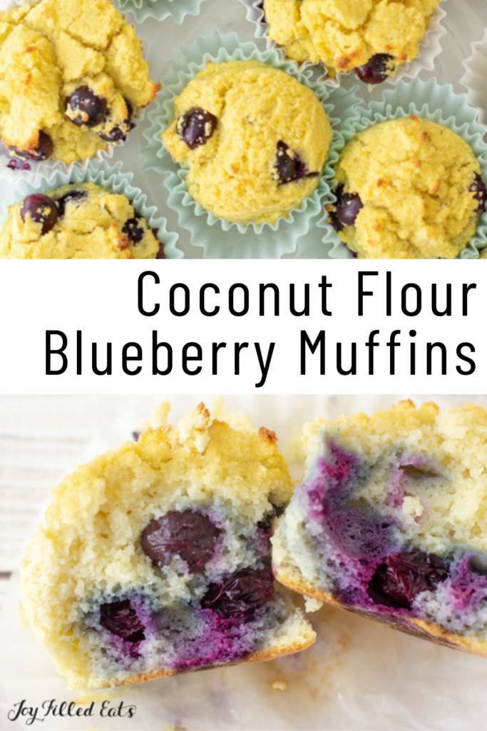 pinterest image for Coconut Flour Blueberry Muffins