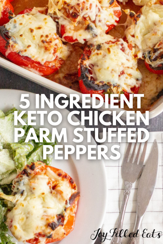 pinterest image for chicken parm stuffed peppers
