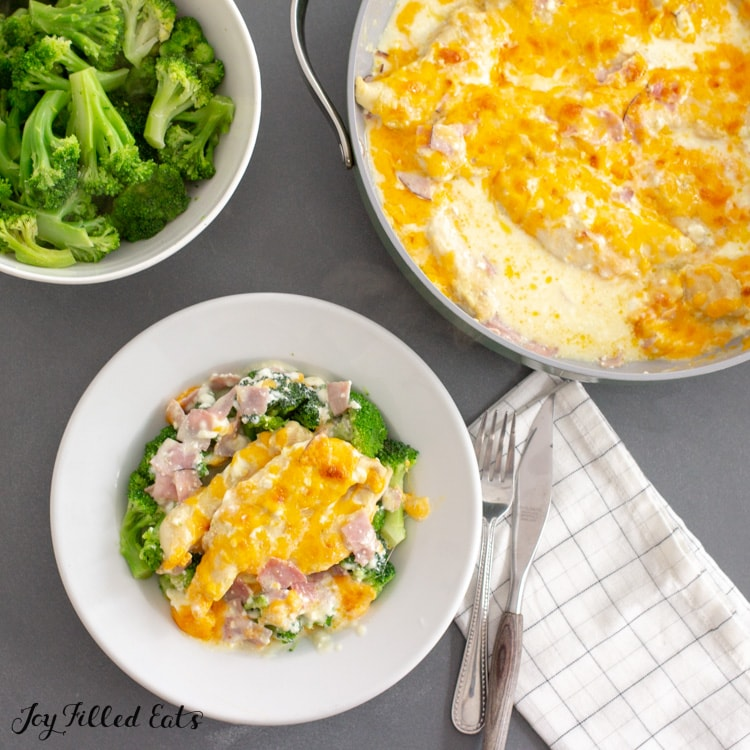 overhead shot of chicken and broccoli in cheese sauce