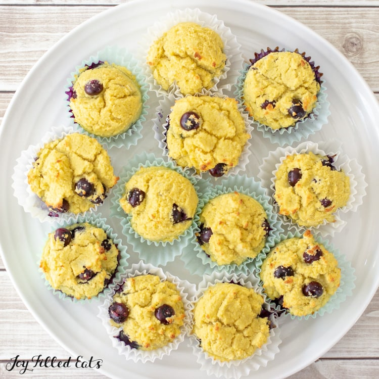 overhead shot of coconut flour blueberry muffins on a platter
