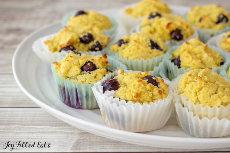 coconut flour blueberry muffins on a platter