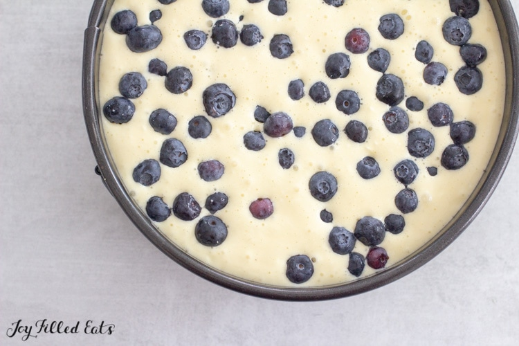 batter topped with fresh berries in a springform pan