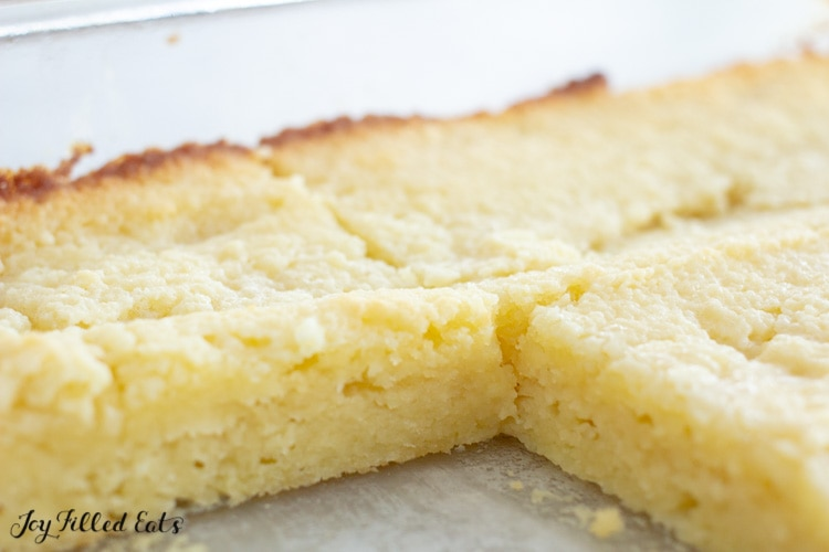 close up of the cut cake in the pan