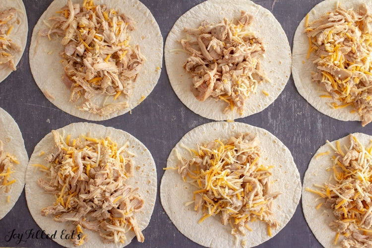 tortillas topped with shredded chicken filling