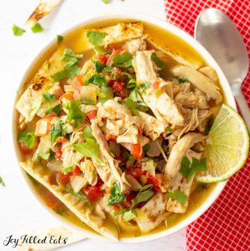 close up of keto chicken tortilla soup