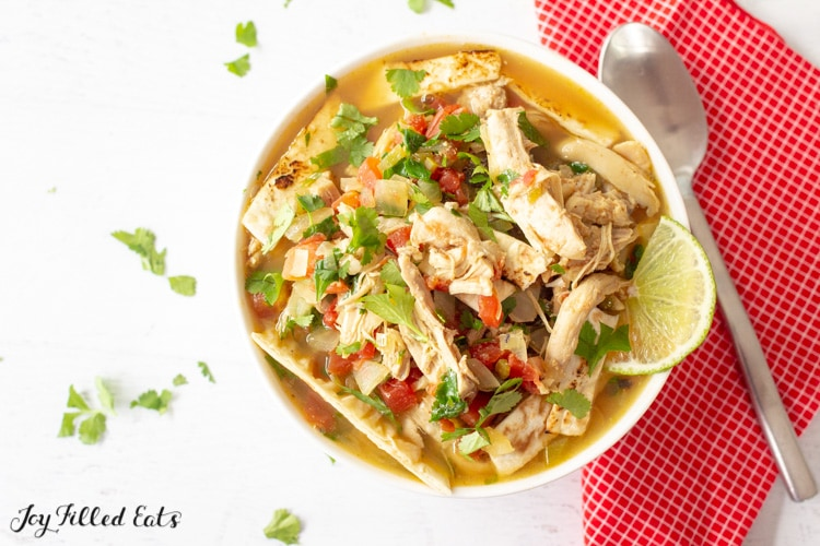 overhead shot of a keto chicken tortilla soup