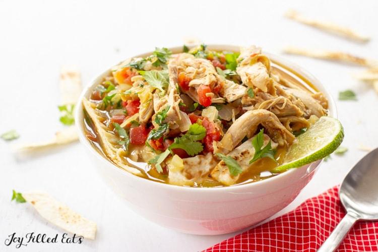 bowl of keto chicken tortilla soup