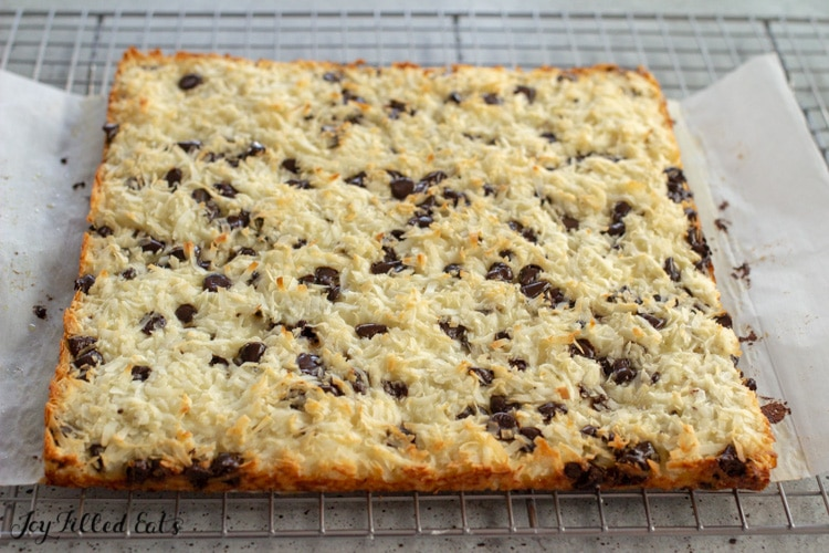 cooling rack with keto coconut bars