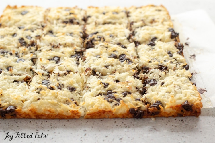 the chewy coconut bars cut into squares