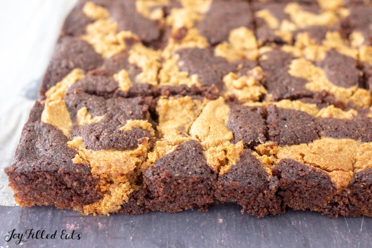side view of keto peanut butter brownies