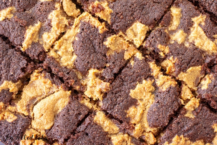 overhead shot of keto peanut butter brownies