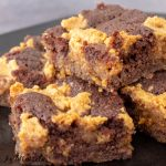 close up of keto peanut butter brownies