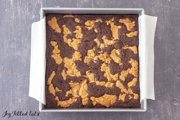 overhead shot of pan of keto peanut butter brownies