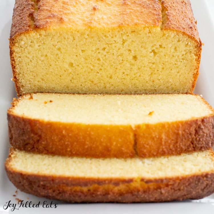 close up of slices of keto pound cake