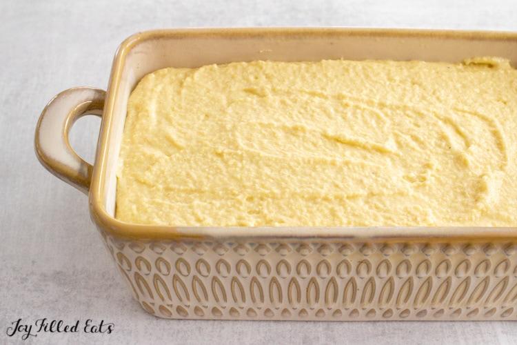 batter in ceramic loaf pan
