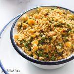 close up of a bowl of mediterranean cauliflower rice