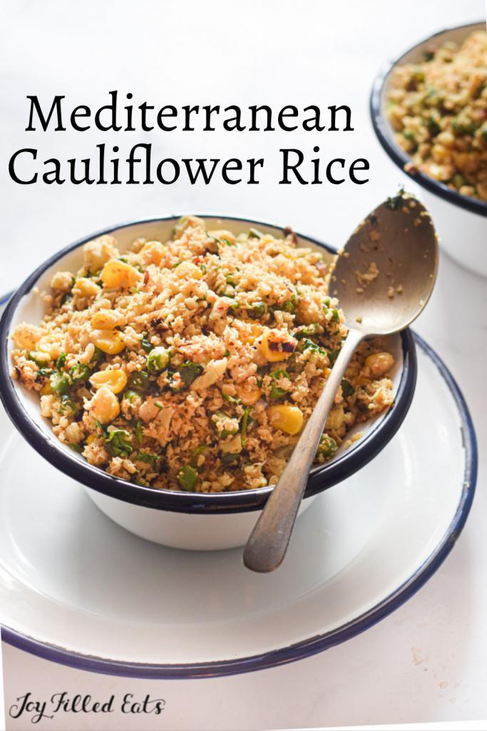 pinterest image for mediterranean cauliflower rice