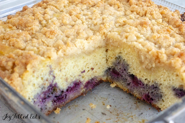 thm baking blend coffee cake with blueberries and crumb topping in baking dish
