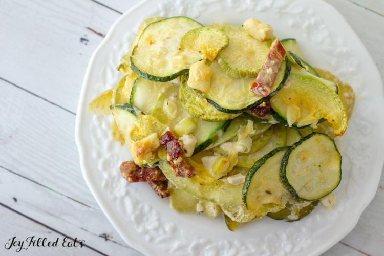 keto zucchini au gratin on a white plate
