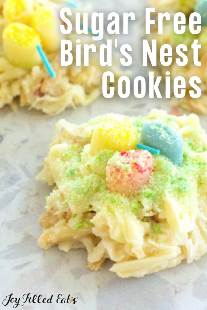 pinterest image for birds nest cookies