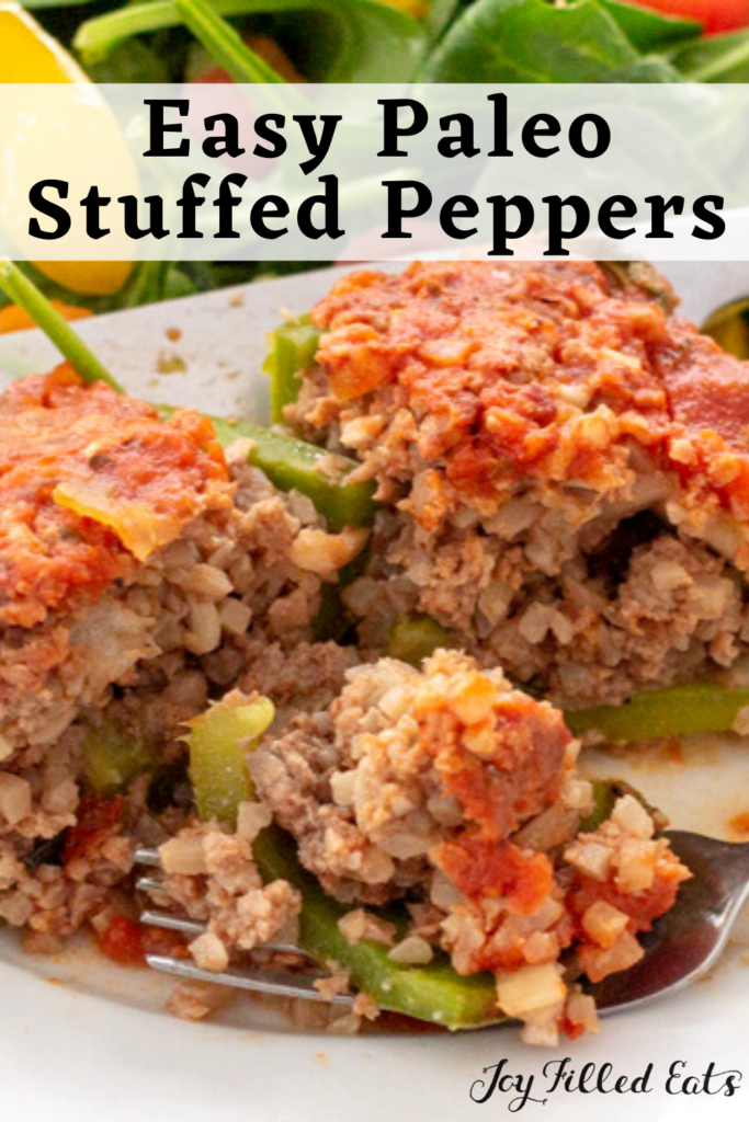 pinterest image for paleo stuffed peppers