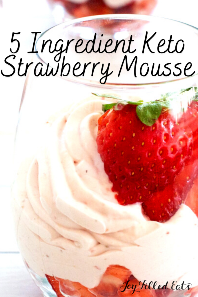 pinterest image for keto strawberry mousse